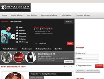 Main page screenshot of blackbeats.fm