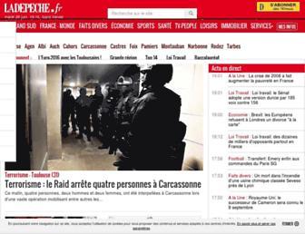 Main page screenshot of ladepeche.fr