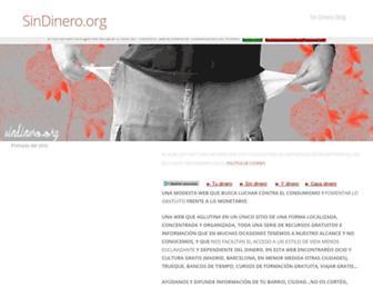 Main page screenshot of sindinero.org