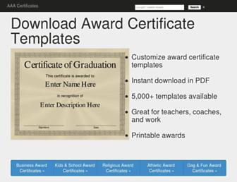 aaacertificates.com screenshot