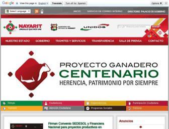 Main page screenshot of nayarit.gob.mx