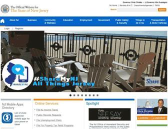 Main page screenshot of nj.gov