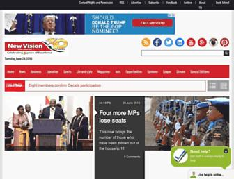Main page screenshot of newvision.co.ug