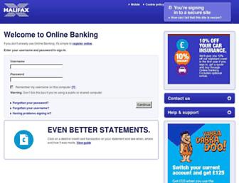 Main page screenshot of halifax-online.co.uk