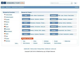 Main page screenshot of a1webdirectory.org