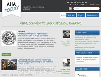 Main page screenshot of blog.historians.org
