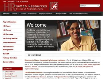 hr.ua.edu screenshot