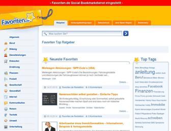Main page screenshot of favoriten.de