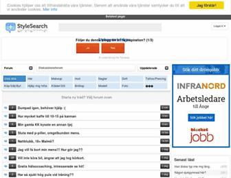 Main page screenshot of stylesearch.se