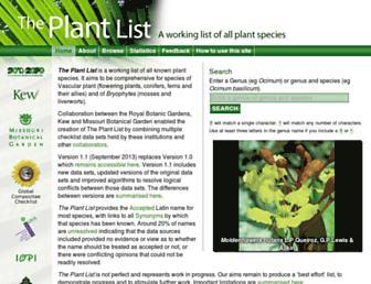 Main page screenshot of theplantlist.org
