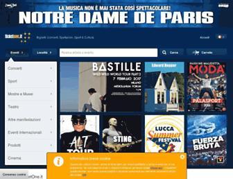 Main page screenshot of ticketone.it