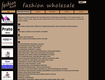 Main page screenshot of fashion-wholesale.de