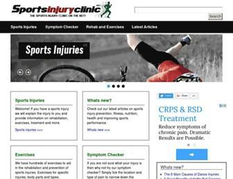 Main page screenshot of sportsinjuryclinic.net