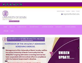 Main page screenshot of uniben.waeup.org
