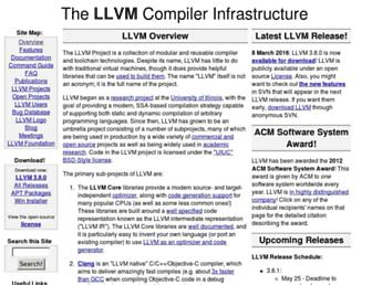 Thumbshot of Llvm.org