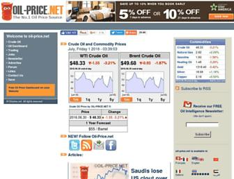 Main page screenshot of oil-price.net