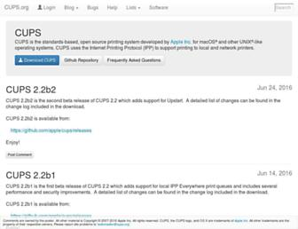 Main page screenshot of cups.org