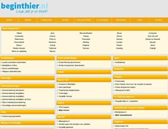 Main page screenshot of beginthier.nl