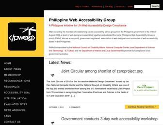 Main page screenshot of pwag.org