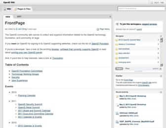 Main page screenshot of wiki.openid.net