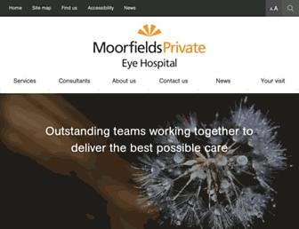 Main page screenshot of moorfields-private.co.uk