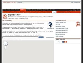 Main page screenshot of expatdirectory.telegraph.co.uk