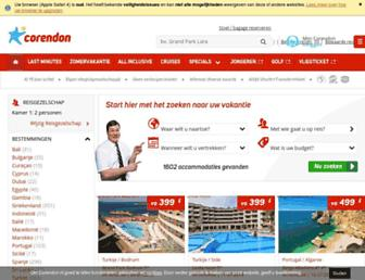 Main page screenshot of corendon.nl