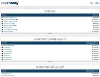 capfriendly.com screenshot