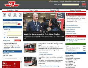 Main page screenshot of ttc.ca