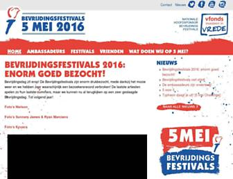 Main page screenshot of bevrijdingsfestivals.nl