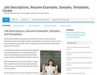 jobdescriptionandresumeexamples.com screenshot