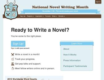 Main page screenshot of nanowrimo.org