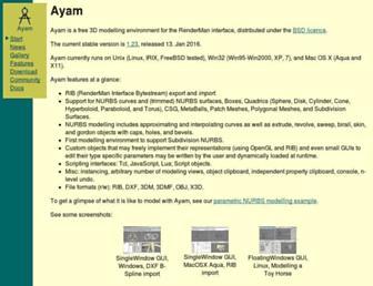 Main page screenshot of ayam.sourceforge.net