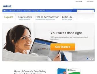 Main page screenshot of intuit.ca