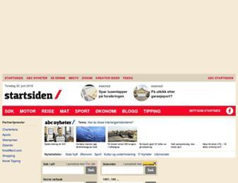 Main page screenshot of startsiden.no