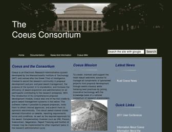 Main page screenshot of coeus.org