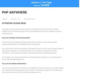 Main page screenshot of phpanywhere.net