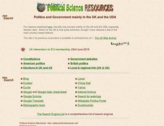 Main page screenshot of politicsresources.net