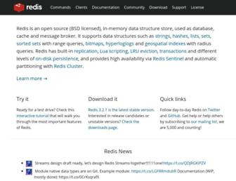 Thumbshot of Redis.io