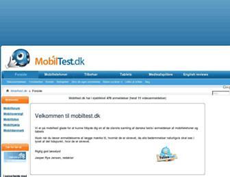Main page screenshot of mobiltest.dk