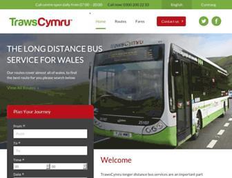Main page screenshot of trawscymru.info