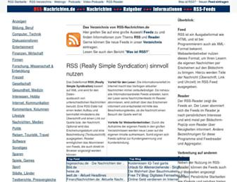 Main page screenshot of rss-nachrichten.de