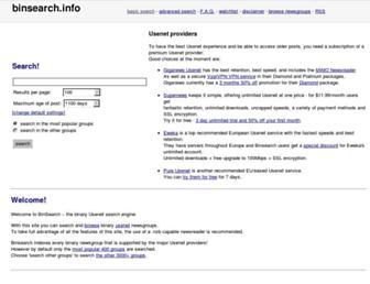 Main page screenshot of binsearch.info