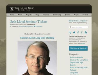 Main page screenshot of blog.longnow.org