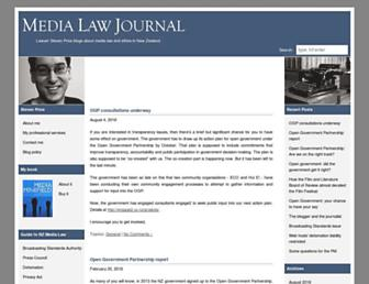 Main page screenshot of medialawjournal.co.nz