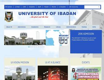Main page screenshot of ui.edu.ng