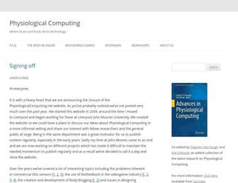 Main page screenshot of physiologicalcomputing.net