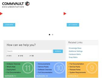 documentation.commvault.com screenshot