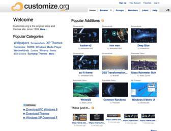 Main page screenshot of customize.org