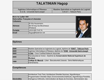 Main page screenshot of hagop.talatinian.net